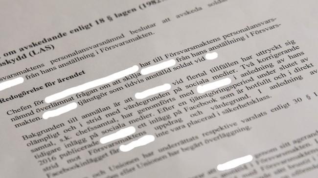 Försvarsmaktens beslut att sparka Erik. Foto: Nyheter Idag