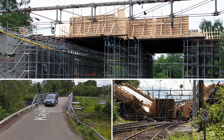 Brobygget innan raset idag. Gamla Kajbron och bild efter raset. Foto: Trafikverket/Google Maps
