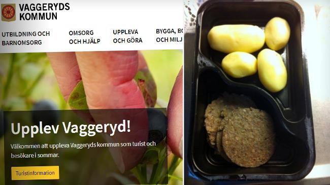 Bilden på matlådan är från ett liknande fall i Örebro. Foto: Faksimil Facebook & vaggeryd.com