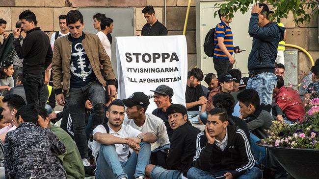 Genrebild. Ensamkommande flyktingbarn demonstrerar i Stockholm. Foto: Nyheter Idag