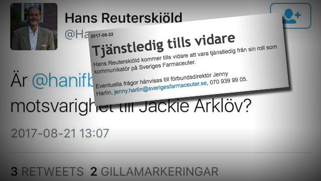 Nu är han tjänstledig meddelar Sveriges Farmaceuter.