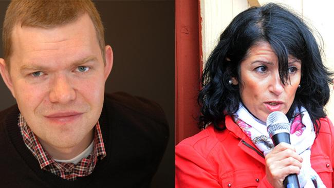 Från vänster: Aron Etzler (V) och Amineh Kakabaveh (V). Foto: Wikimedia commons