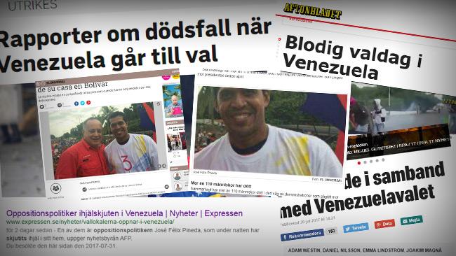 Foto: Faksimil Expressen, Aftonbladet, SVT, Google & El Universal