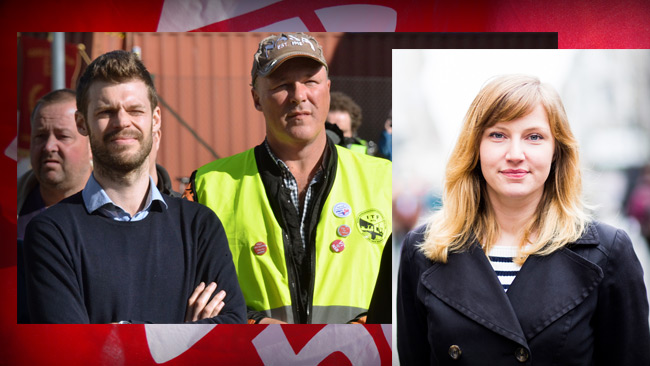 T.v. Partiledare Björnar Moxnes tillsammans med norska hamnarbetare.T.h. Mari Eifring. Foto: Brage Aronsen och André Løyning samt Flickr.