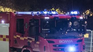 Åtta bilar helt utbrända i garagebrand i Rosengård