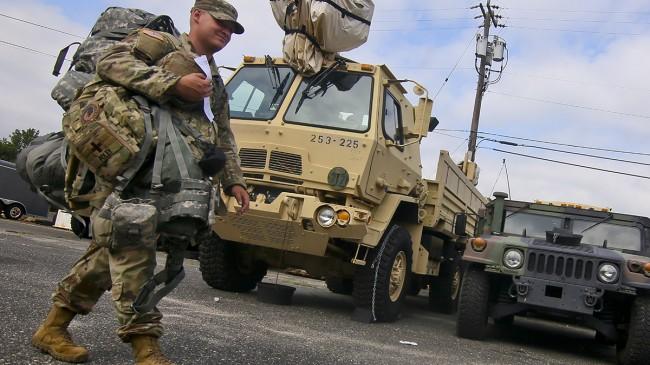 Nationalgardet i New Jersey på väg för att hjälpa till i Florida. Foto: Nationalgardet