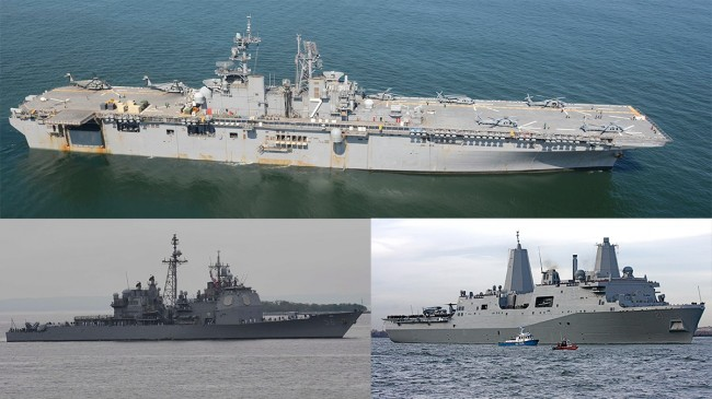USS Iwo Jima, USS San Jacinto och USS New York. Foto: US Navy/Bob Kopprasch