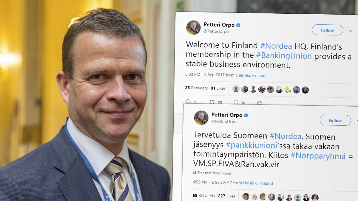 Finansminister Petteri Orpo är nöjd. Foto: EPP/Skärmdump