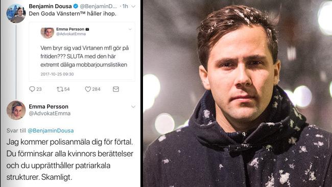 """""""Inte jag som försvarar våldtäktsmän"""", säger Dousa till Nyheter Idag."""