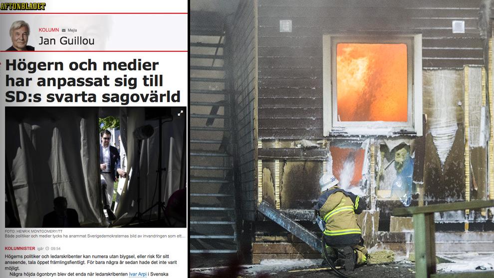 Guillous text till vänster och ett asylboende i södra Stockholm som brinner till höger. Foto: Nyheter Idag