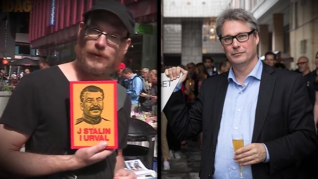 Bergman till vänster med Stalin. Mogert till höger med lite bubbel. Montage: Nyheter Idag