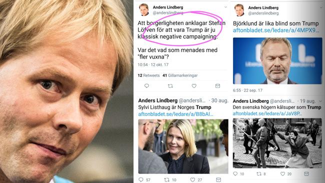 Lindbergs debatteknik på Twitter. Foto: Nyheter Idag samt skärmdump @konsensuseliten