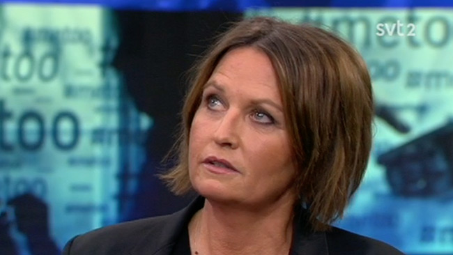 Aftonbladets publisher Sofia Olsson Olsén i SVT Aktuellt. Foto: svtplay.se