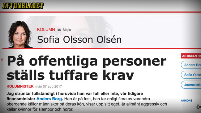 Olsson Olsén kommenterar Aftonbladets agerande i stora frågor. Foto: Faksimil aftonbladet.se
