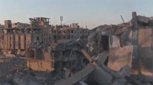 Drönarbilder visar stor förödelse i Raqqah
