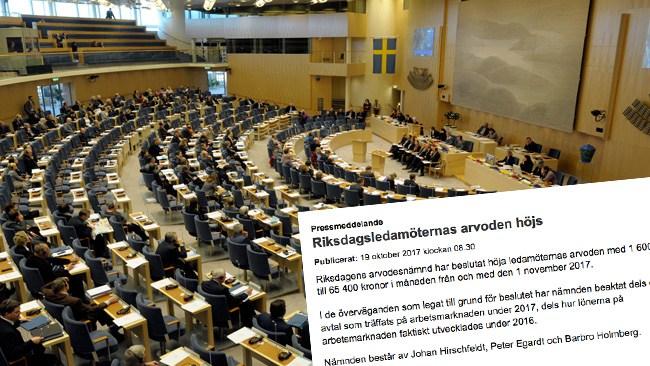 """Riksdagens arvodesnämnd ger alla riksdagspolitiker en löneförhöjning - """"Vi följer principer som riksdagen ställt upp"""""""