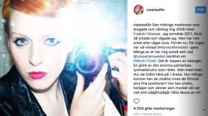 Publicerar namnet på Instagram: Cissi Wallin anklagar tung medieprofil för våldtäkt