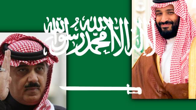 Mutaib bin Abdullah till vänster, Mohammed bin Salman till höger.