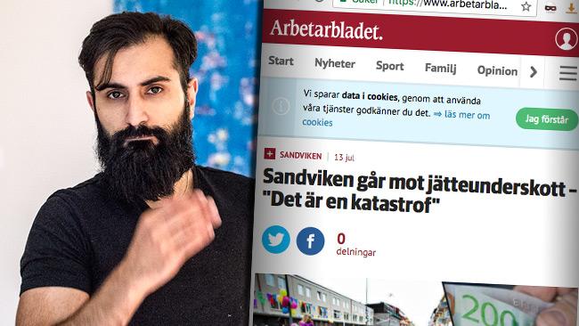 """Bali vill erbjuda ett """"solidariskt nödpaket"""" av nyanlända till Sandviken. Foto: Nyheter Idag / Faksimil arbetarbladet.se"""