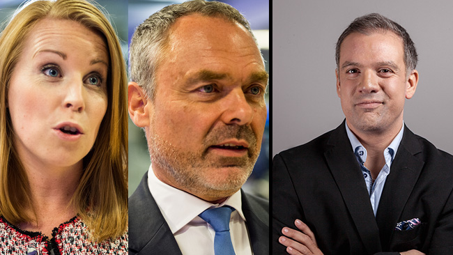 Johan Ingerö (till höger) är kritisk mot L och C som står till vänster. I bild alltså. Foto: Nyheter Idag samt pressfoto
