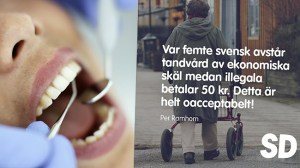 """SD: """"Helt oacceptabelt"""" att illegala invandrare får tandvård för 50 kronor"""