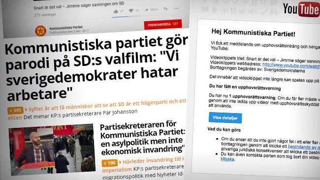 Youtube tog bort Kommunistiska partiets parodi efter påtryckningar från Sverigedemokraterna