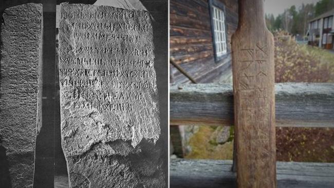 Kensingtonstenen och runstaven i Haverö. Staven är fotograferad av Magnus Källström.