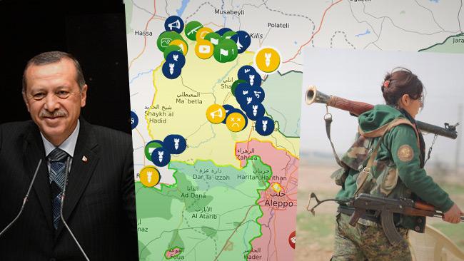 Tv. Erdogan. T.h YPJ-soldat