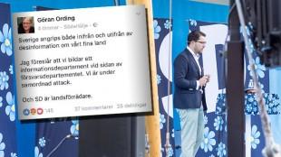 """Ording är tydlig med sin kritik mot SD som han kallar """"landsförrädare"""". Foto: Faksimil Facebook samt Nyheter Idag"""