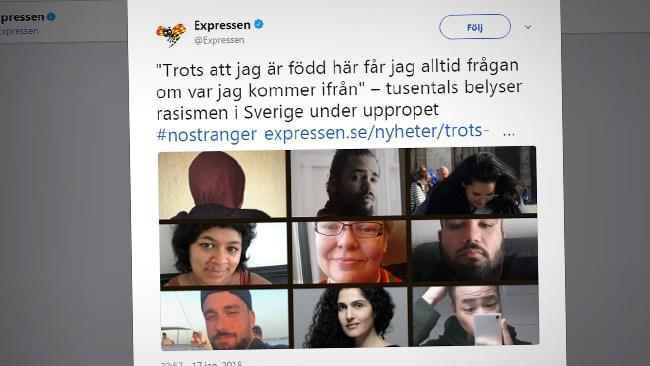 #Nostranger Ny kampanj sveper in över Sverige: Kan vara rasism att fråga någon varifrån den kommer