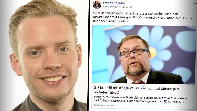 Schulte (M) riktar hård kritik mot SD. Foto: Pressbild samt faksimil Facebook