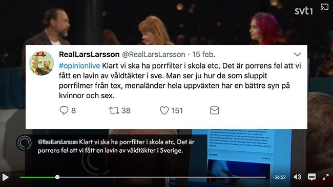 Klipp och klistra i SVT:s Opinion live – kortade tweet om våldtäkt så innebörden ändrades