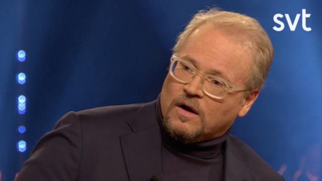 "Fredrik Lindström intervjuas i ""Skavlan"". Foto: svt.se"