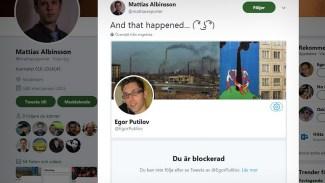 Egor Putilov blockerar kollega på Samnytt