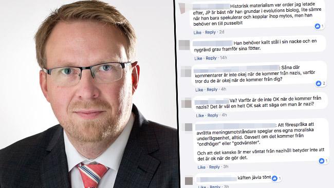 Advokat Henrik Sundström (M) och exempel på näthat.
