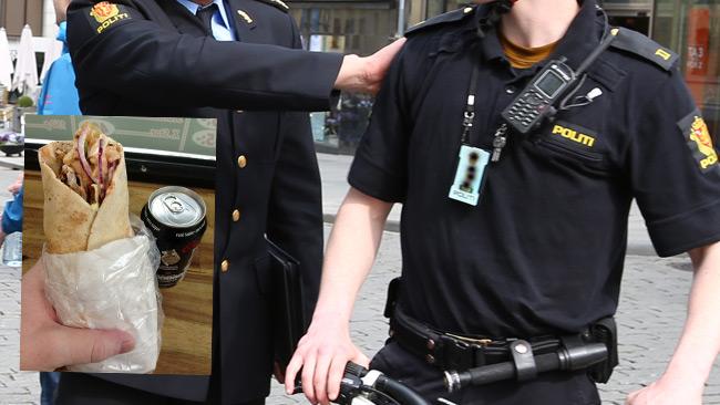 I bakgrunden: Norska poliser. Foto: Flickr. I förgrunden: Kebabrulle. Foto: Flickr