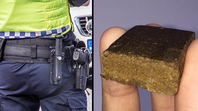 Polis till vänster och en bit röka till höger. Foto: Nyheter Idag samt Wikimedia Commons