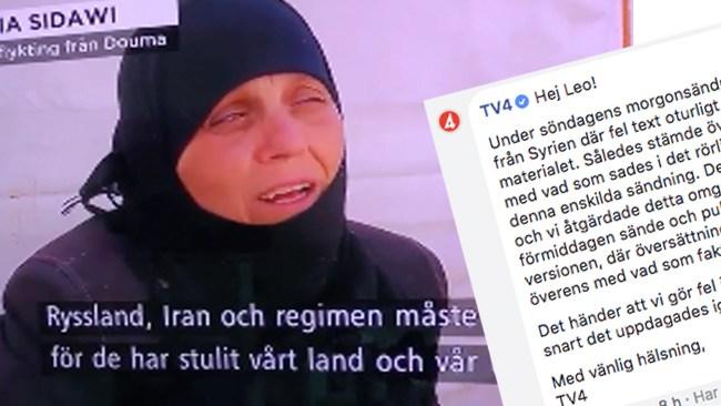 """TV4 Nyheter erkänner: Skrev """"Ryssland"""" istället för """"USA"""" i reportage om Syrien"""