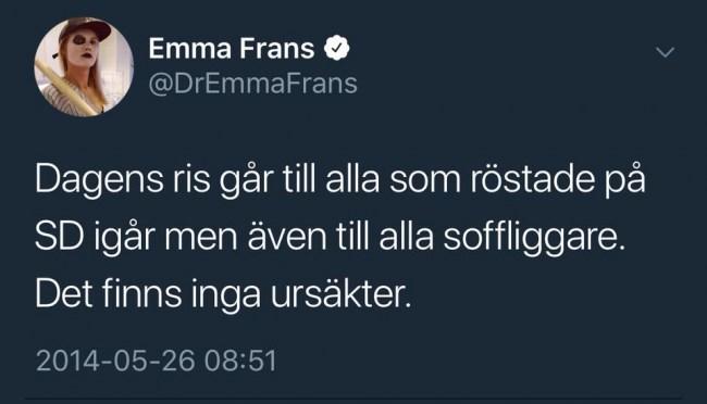 """SD-hatande Twitterprofil rekryteras till SVT: """"Emma Frans är unik i att lyckas folkbilda och roa samtidigt"""""""