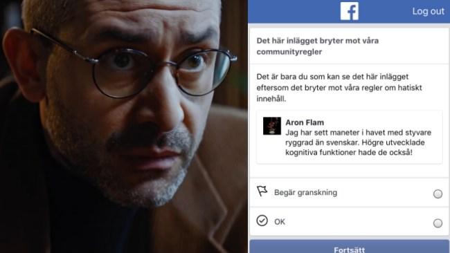 """Facebook bannar Aron Flam för """"hatiskt"""" skämt om svenskar och maneter"""