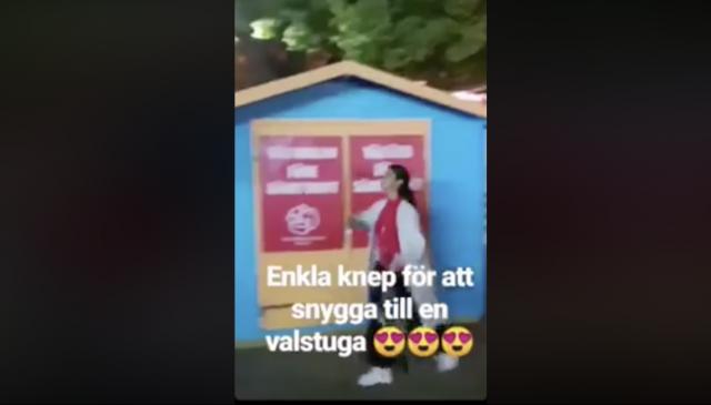 Skandalfilmen: Socialdemokraternas ungdomsförbund tar ner flaggor och affischerar på Moderaternas valstuga