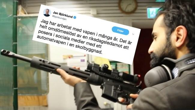"""Björklund (L) rasar mot Bali (M) – poserade med vapen på skyttebana: """"Omdömeslöst"""""""