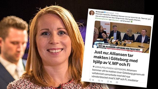 """Lööfs jubel efter att Alliansen gjort upp med V: """"Stort grattis"""""""