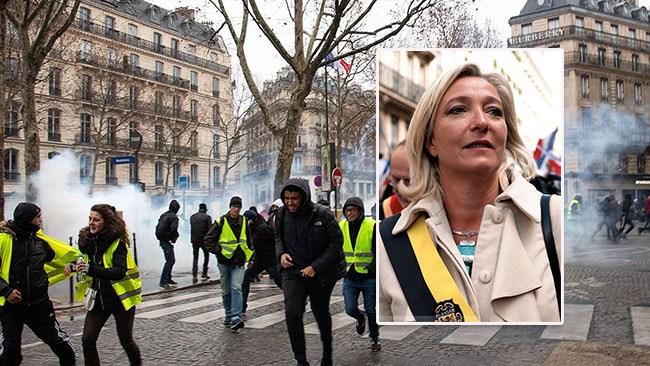 Le Pen söker demonstranternas stöd inför EU-valet