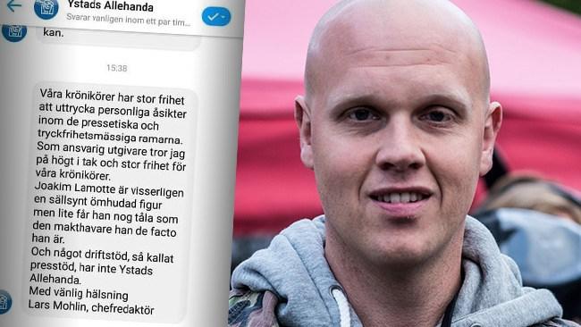 Så svarar Ystads Allehanda på Lamottes kritik om presstöd efter tiggarbråket