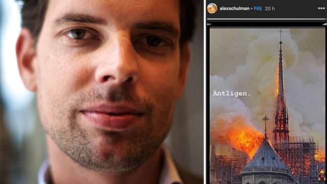 """Expressens Alex Schulman efter Notre-Dame-branden: """"Äntligen."""""""