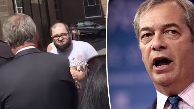Farage attackerad med milkshake av vänstersympatisör