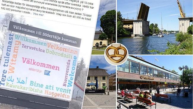 Fel språk välkomnade besökare till Södertälje