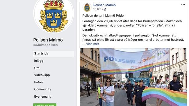 """""""Såpbubbelmaskin"""" och tatueringar när polisen deltar på Malmö Pride"""