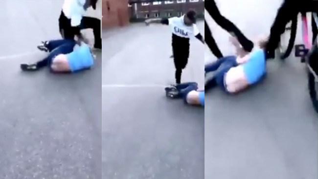 Misshandeln filmas när han sparkas i huvudet